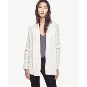 Ann Taylor Winter White Cable Open Cardigan